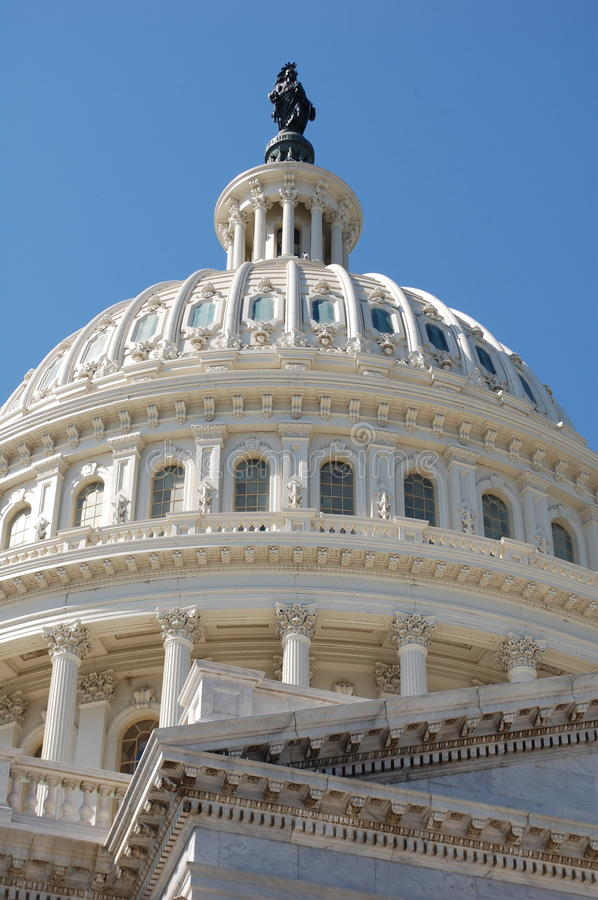 United States Capitol Dome. The gleaming white dome of the United States Capitol Building in Washington DC royalty free stock photography