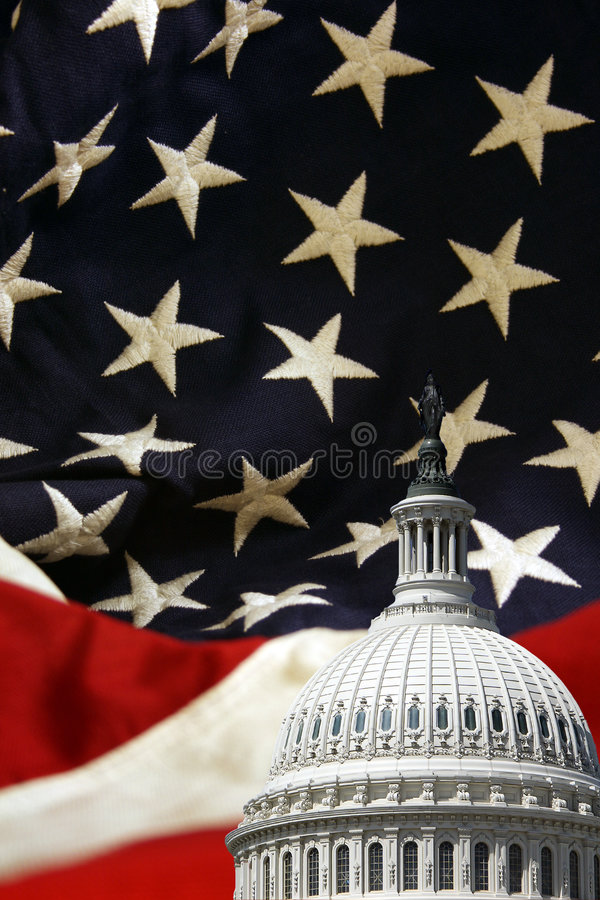 Download United States Capitol With Flag Background Stock Image - Image: 4352369