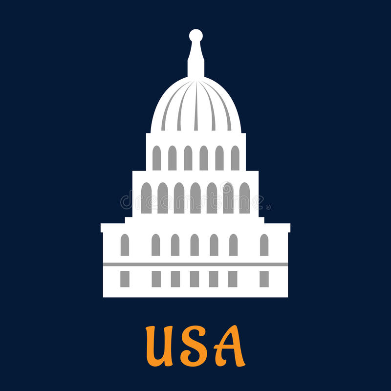 United States Capitol Flat Symbol Stock Vector Image