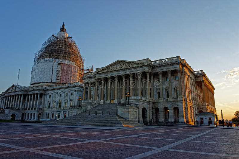 United States Capitol and reconstruction works. United States Capitol locates on a top of a Capitol Hill in Washington D.C., USA. Architect of the building was royalty free stock photo