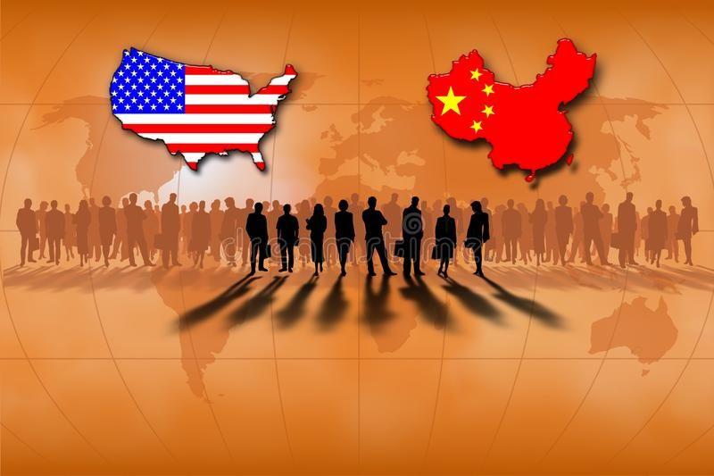 United States and China stock illustration