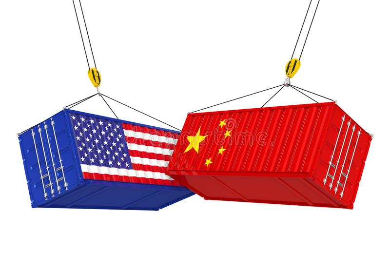 United States and China Cargo Container Isolated. Trade war Concept royalty free illustration