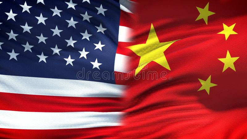 United States and China flags background, diplomatic and economic relations. Stock photo royalty free stock photo
