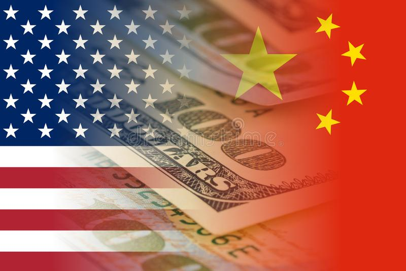 United states and china flags with dollars banknotes mixed image stock images