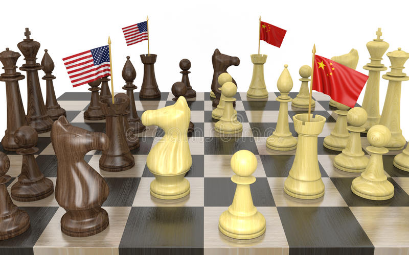 United States and China foreign policy strategy and power struggle vector illustration