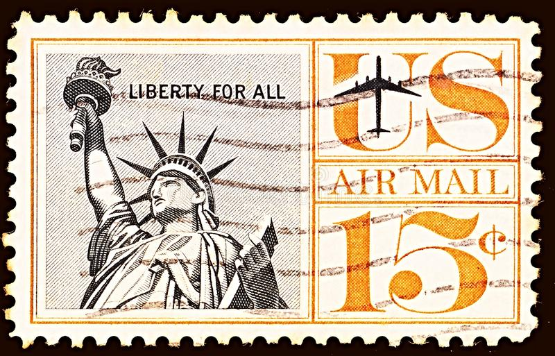 Air Mail Stamp, printed by United states, shows Statue of Liberty royalty free stock photo