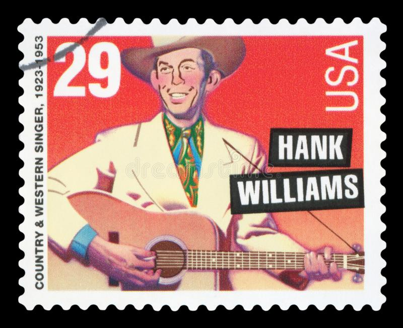 US - Postage Stamp. UNITED STATES - CIRCA 1996: postage stamp printed in USA showing an image of Hank Williams, circa 1996 stock images