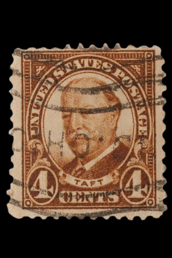 UNITED STATES - CIRCA 1920s: Vintage US 4 Cents Postage Stamp with portrait William Howard Taft September 15, 1857 – March 8,. UNITED STATES - CIRCA 1920s stock images