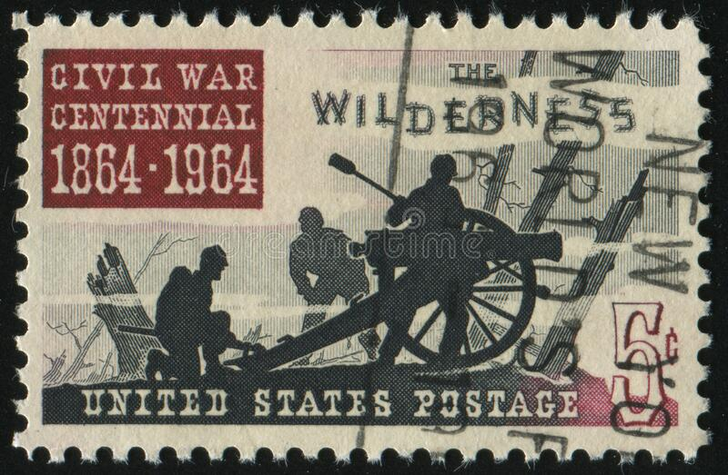 Postage stamp. UNITED STATES - CIRCA 1961: stamp printed by United states, shows  Battle of the Wilderness 1864, circa 1961 stock photos