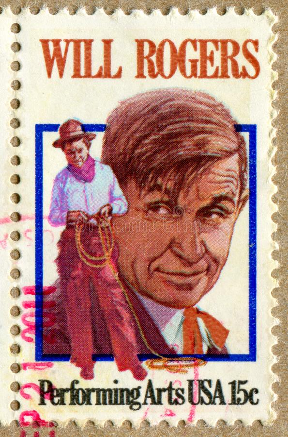 Will Rogers. UNITED STATES - CIRCA 1979: stamp printed by United States, shows Will Rogers, circa 1979 stock photo