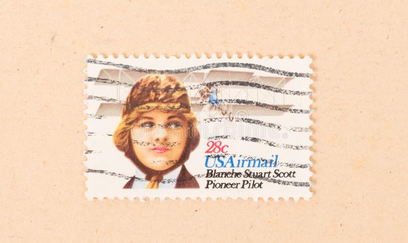 A stamp printed in the USA shows an image of Blanche Stuart Scott, circa 1970. UNITED STATES - CIRCA 1970: A stamp printed in the USA shows an image of Blanche royalty free stock photos