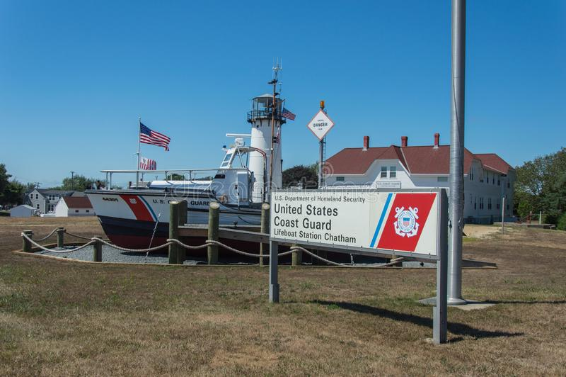 US Coast Guard. United States Coast Guard boat at Chatham, Cape Cod, US. The boat has used to help people in the Atlantic Ocean royalty free stock images