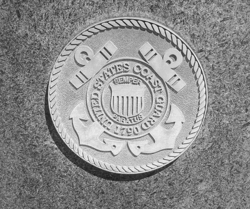 United States Coast Guard stone seal. At Purgatory Park stock photography