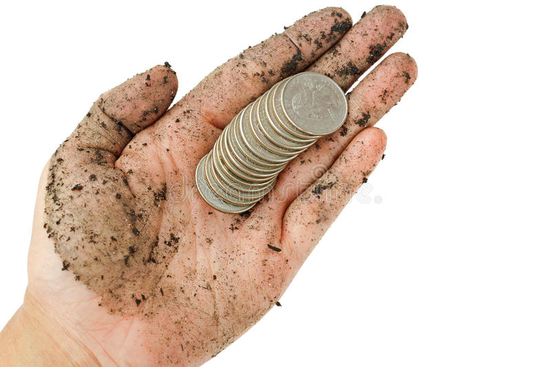 United States coins, quarter dollar on single dirty woman hand w royalty free stock photo