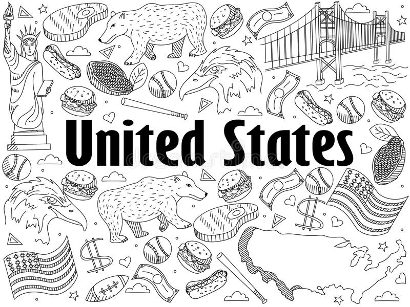Line Art United States : United states coloring book vector illustration stock