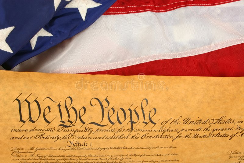 United States Constitution and Flag -- Landscape Orientation royalty free stock image