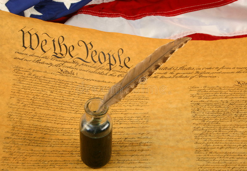 United States Constitution, Quill Pen in Inkwell, and Flag stock image