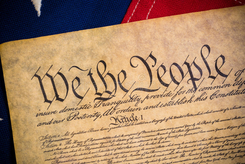 United States Constitution and vintage American flag royalty free stock images