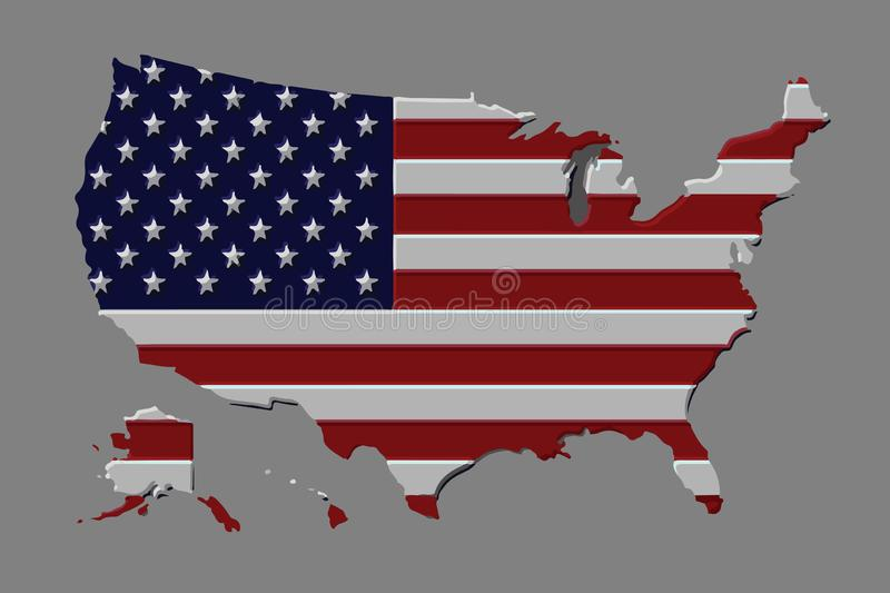 United States country vector with the american flag vector illustration