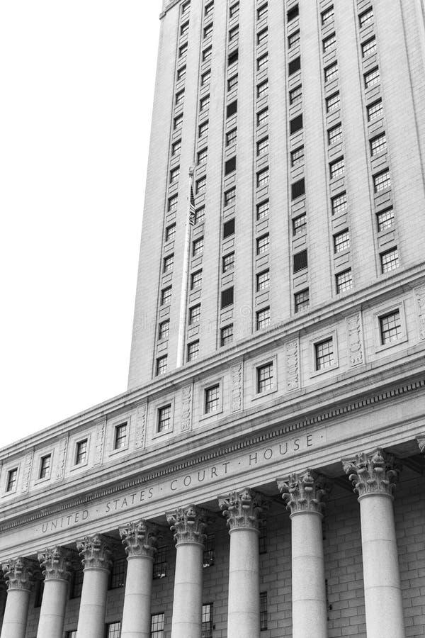 United States Court House. Black and white image of United States Court House. Courthouse facade with columns, lower Manhattan, New York stock photo