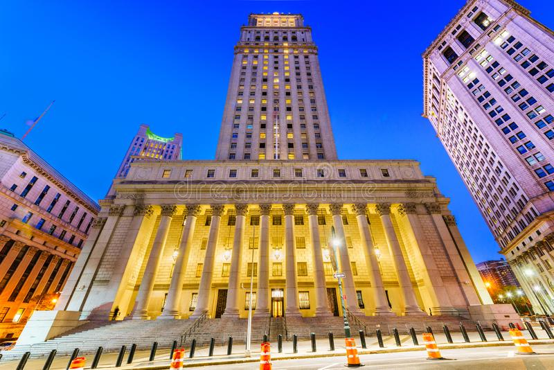 United States Court House in the Civic Center district of New York City. At night royalty free stock photos