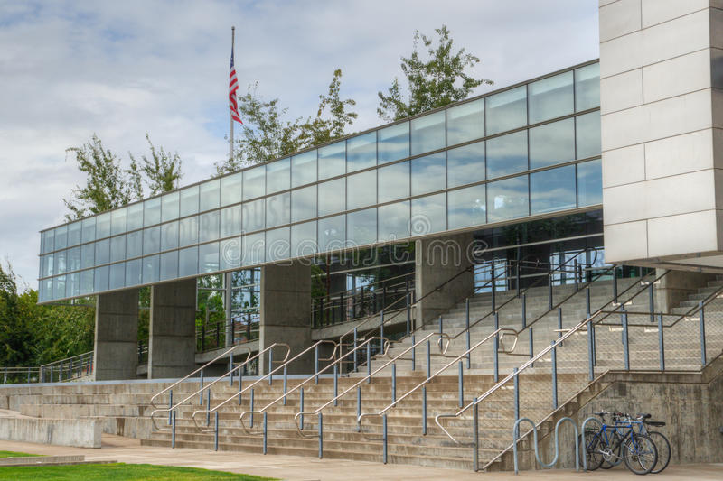 United States Courthouse in Eugene Oregon. The federal courthouse building with American flag in Eugene Oregon stock image