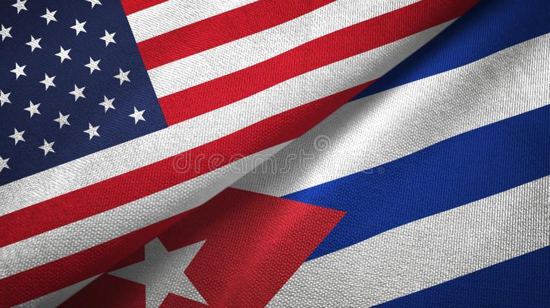 United States and Cuba two flags textile cloth, fabric texture. United States and Cuba two folded flags together stock illustration