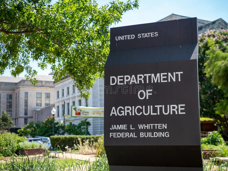 United States Department of Agriculture Jamie L. Whitten federal building entrance sign. WASHINGTON, DC July 10, 2018: United States Department of Agriculture royalty free stock photo