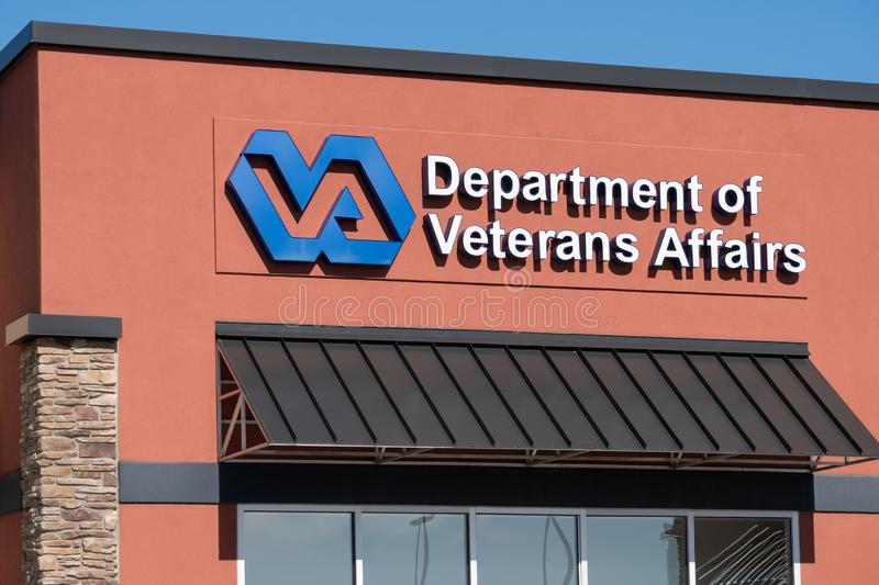 United States Department of Veterans Affairs Clinic Exterior. GRAND FORKS, ND/USA - JUNE 28, 2019: United States Department of Veterans Affairs outpatient clinic stock image