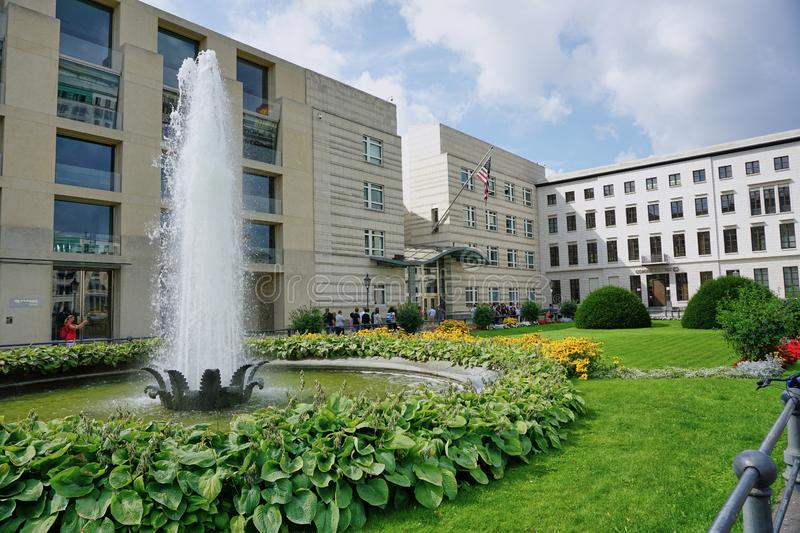 United States Embassy in Berlin - Aug 2016. United States Embassy in Berlin - Aug. United, states, embassy, berlin, germany, americans, facade, street, view stock photography