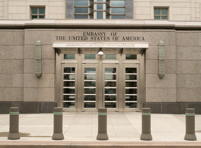United States Embassy in Ottawa, Ontario, Canada. An entranceway to the embassy of the United States of America located in Ottawa, Ontario, CAnada stock image