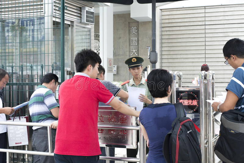 In the United States embassy visa. This photo was taken in the United States embassy in China. Images of the Chinese people are lining up to apply visa, people stock photography