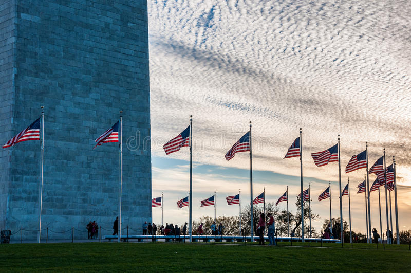 United States Flag Circling the Washington Monument at Sunset. Washington D.C stock image