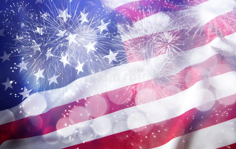 United States flag - crowd celebrating 4th of July Independence Day royalty free stock photo