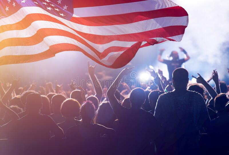 United States flag - crowd celebrating 4th of July Independence Day stock photos