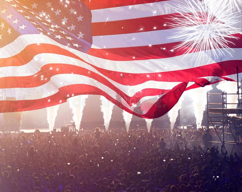 United States flag - crowd celebrating 4th of July Independence Day stock image