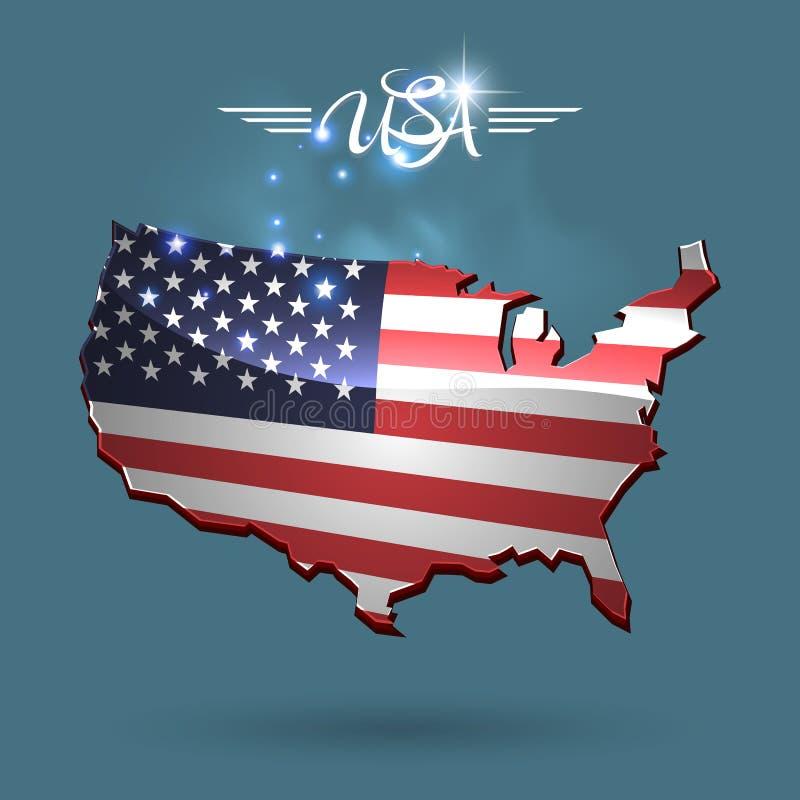 United States flag map vector illustration