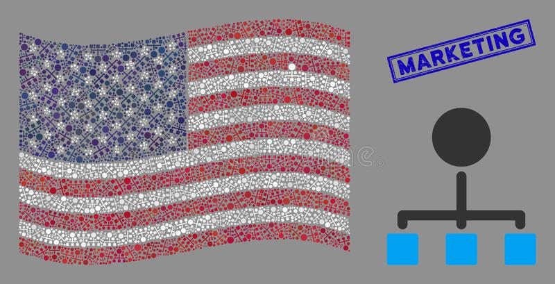 United States Flag Mosaic of Hierarchy and Textured Marketing Stamp. Hierarchy icons are grouped into United States flag abstraction with blue rectangle grunge vector illustration