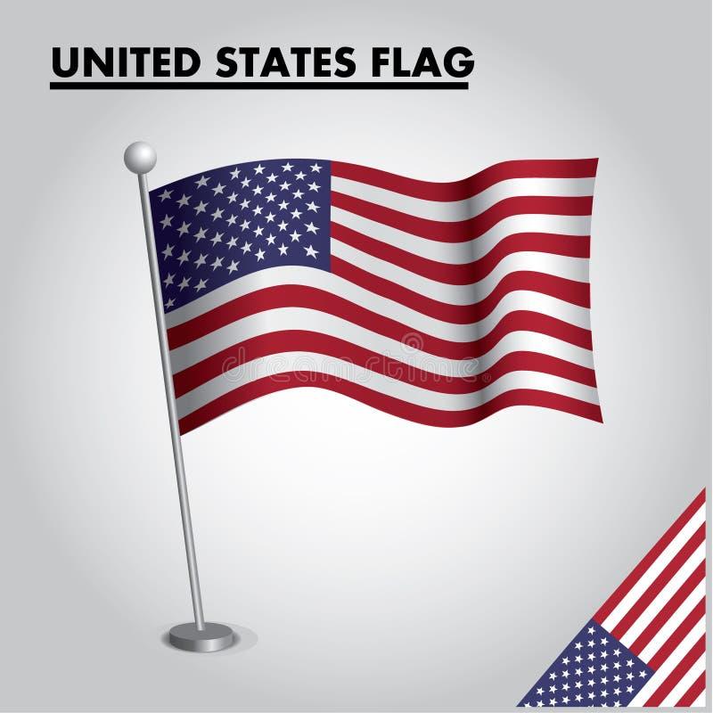 UNITED STATES flag National flag of UNITED STATES on a pole stock illustration