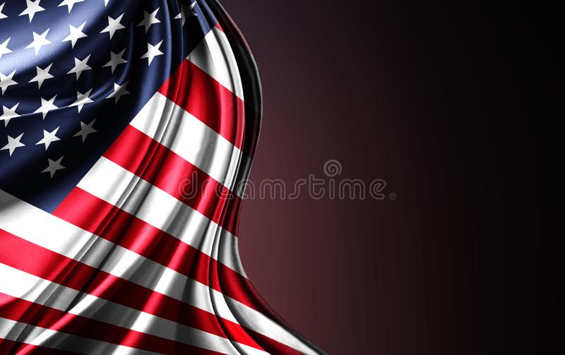 United States flag. Nationals flags of world country turning. USA stock illustration