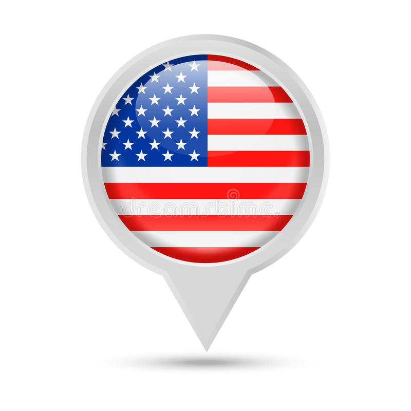 United States Flag Round Pin Vector Icon vector illustration