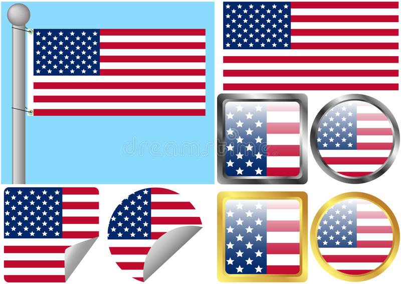 Download United States Flag Set stock vector. Image of peeled - 15652290