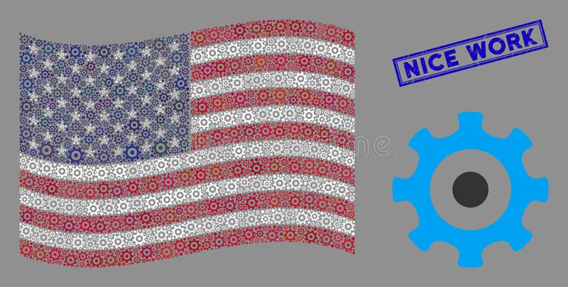 United States Flag Stylized Composition of Gear and Scratched Nice Work Stamp royalty free illustration