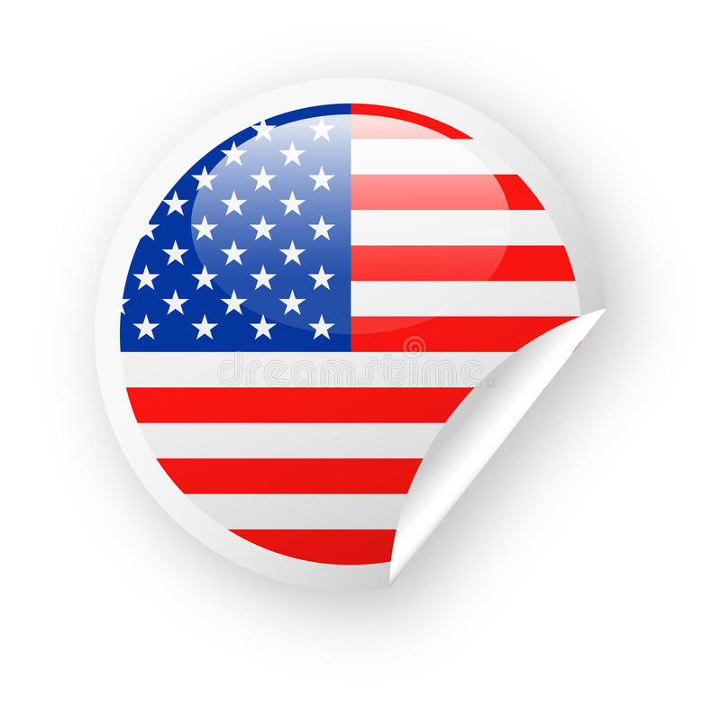 United States Flag Vector Round Corner Paper Icon vector illustration