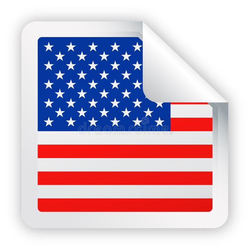 United States Flag Vector Square Corner Paper Icon royalty free illustration