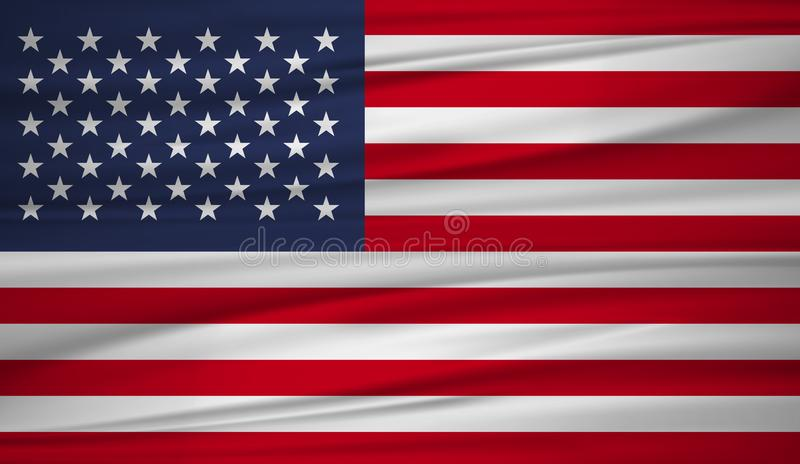 United States flag vector. Vector flag of United States blowig in the wind. vector illustration