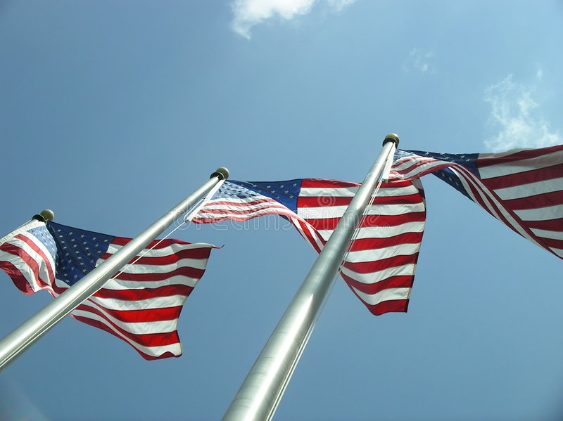 United States Flags. Three United States Flags stock photography