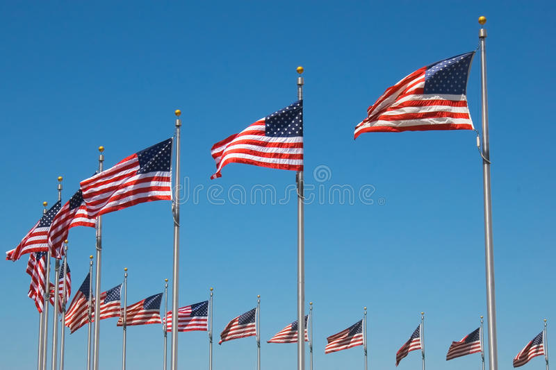 United States Flags around Washington monument, W. Ashington D. C stock images