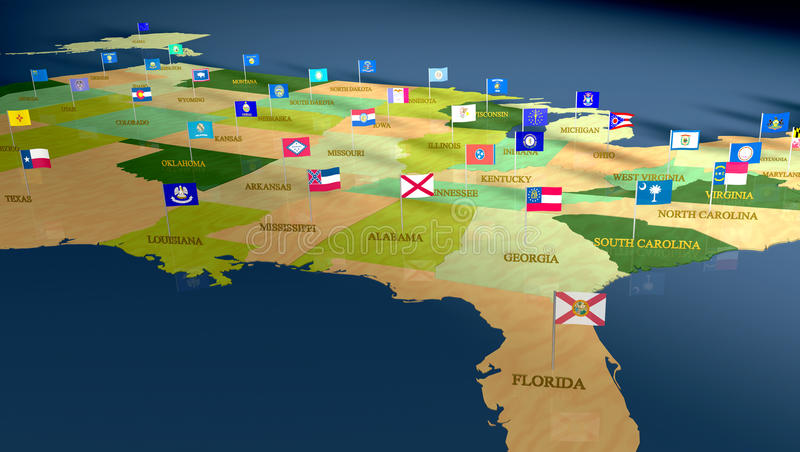 The United States with flags and state names stock illustration