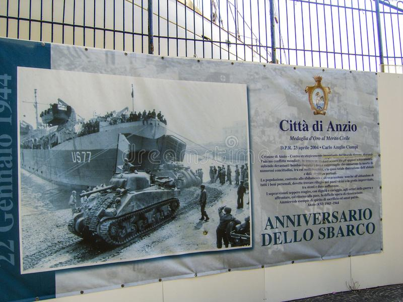 Poster showing the liberating invasion by the United States forces at Anzio, Italy duringWorld War II. United States forces supported by Allied military ships stock photo